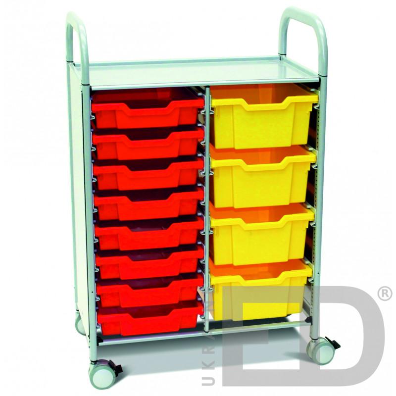 Візок металевий  для зберігання дидактичного матеріалу  (на 2 ряди, 8+4 скринь)