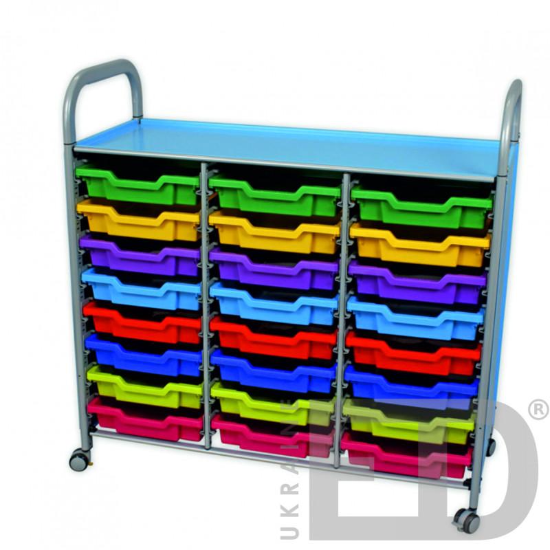 Візок металевий  для зберігання дидактичного матеріалу  (на 3 ряди, 24 скрині)
