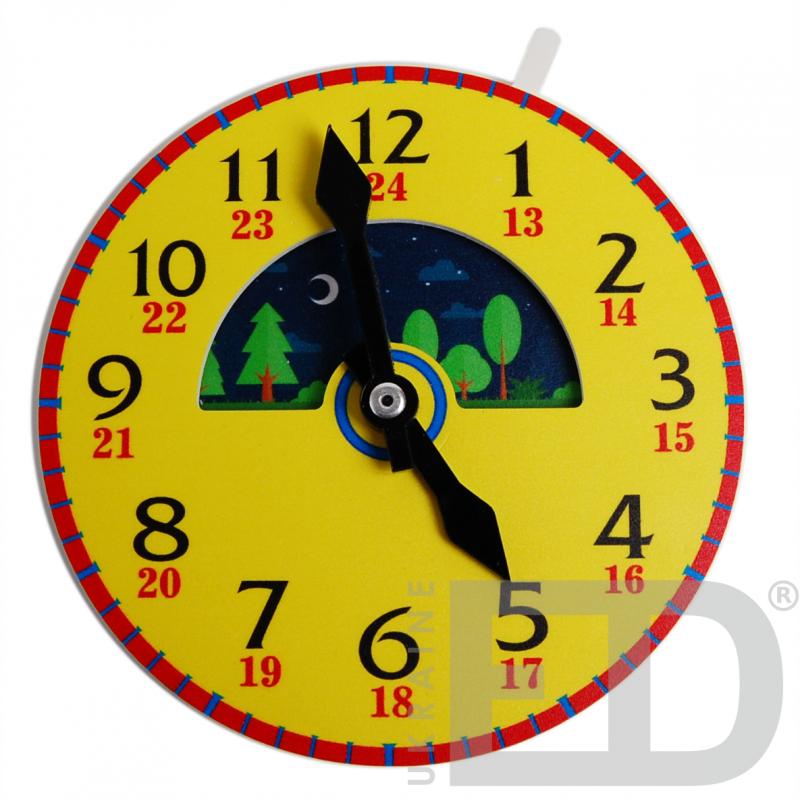 Лабораторна модель механічного годинника, настільна (24 години, годинна та хвилинна стрілки, рухомі зображення дня і ночі)