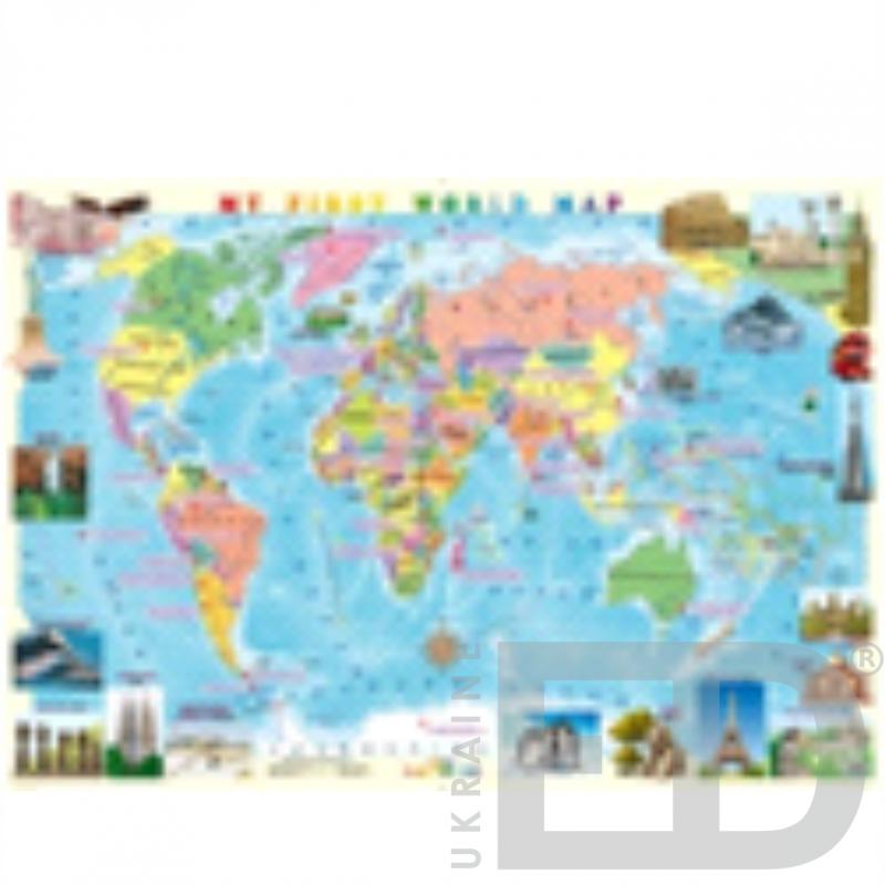 Дитяча карта світу, англійською, на планках