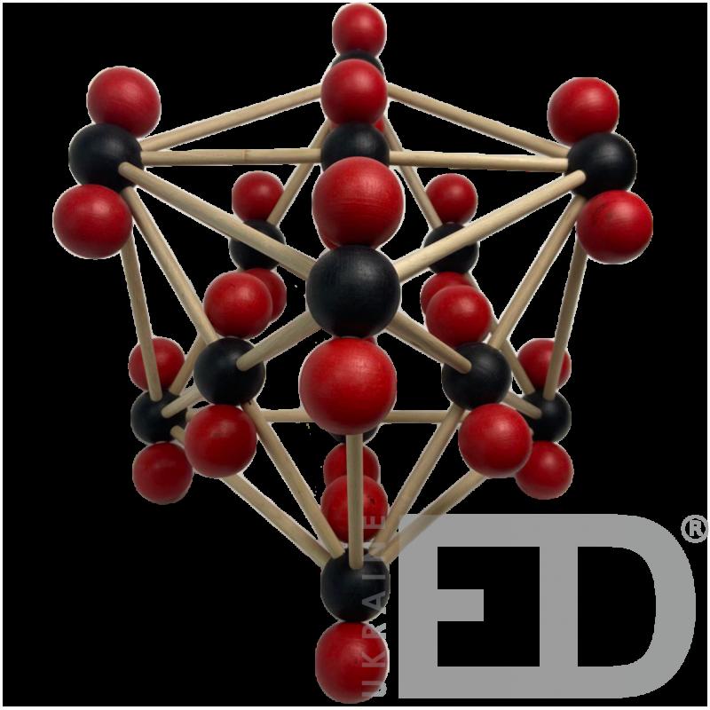 Модель кристалічної гратки діоксиду вуглецю (CO2)  (STEM)
