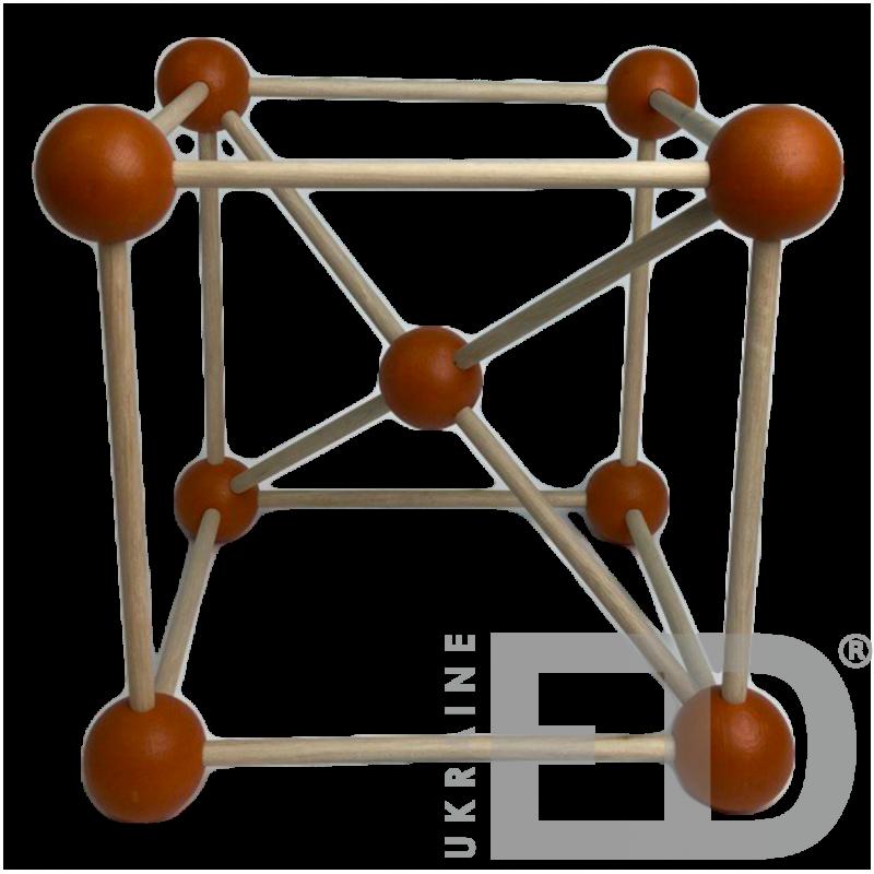 Модель кристалічної гратки заліза (Fe) (STEM)