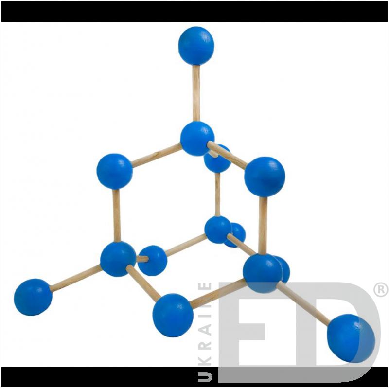 Модель кристалічної гратки алмазу (С) (STEM)