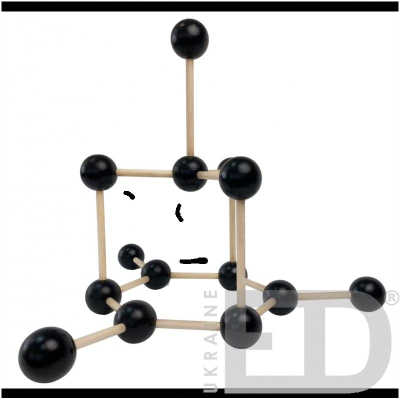 Модель кристалічної гратки графіту (С) (STEM)