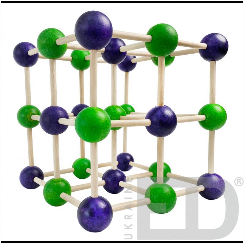 Модель кристалічної гратки кам'яної солі (NaCl) (STEM)