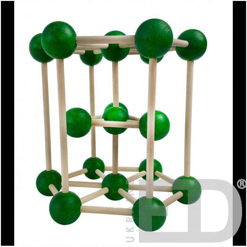 Модель кристалічної гратки магнію (Mg) (STEM)